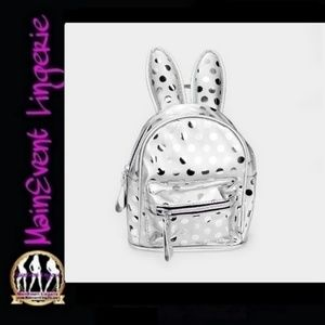 Silver Polkadot Bunny Ears Mini Backpack